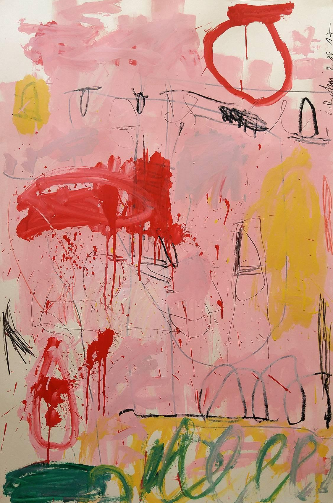 """""""Big Pink""""  53x37,  Acrylic and oil stick"""