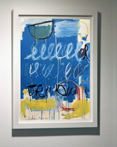 """""""Blue Twombly"""" Abstract on Board"""