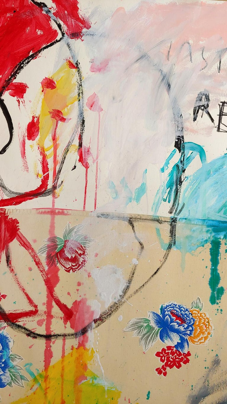Instant Recall, acrylic, oil stick and fabric on board 52x36 - Painting by Christophe