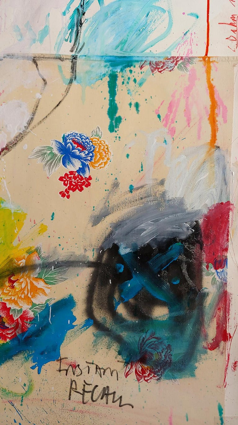 Instant Recall, acrylic, oil stick and fabric on board 52x36 - Abstract Expressionist Painting by Christophe