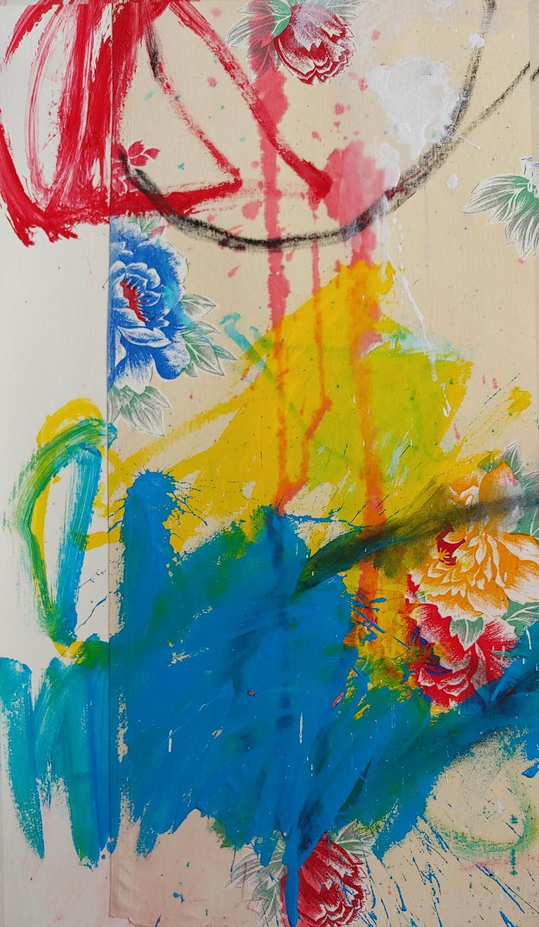 Instant Recall, acrylic, oil stick and fabric on board 52x36 - Beige Abstract Painting by Christophe