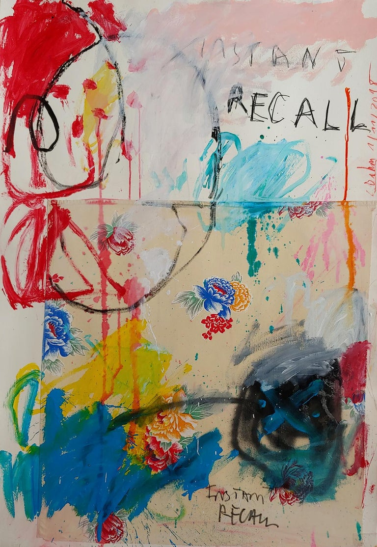 Instant Recall, acrylic, oil stick and fabric on board 52x36 For Sale 1