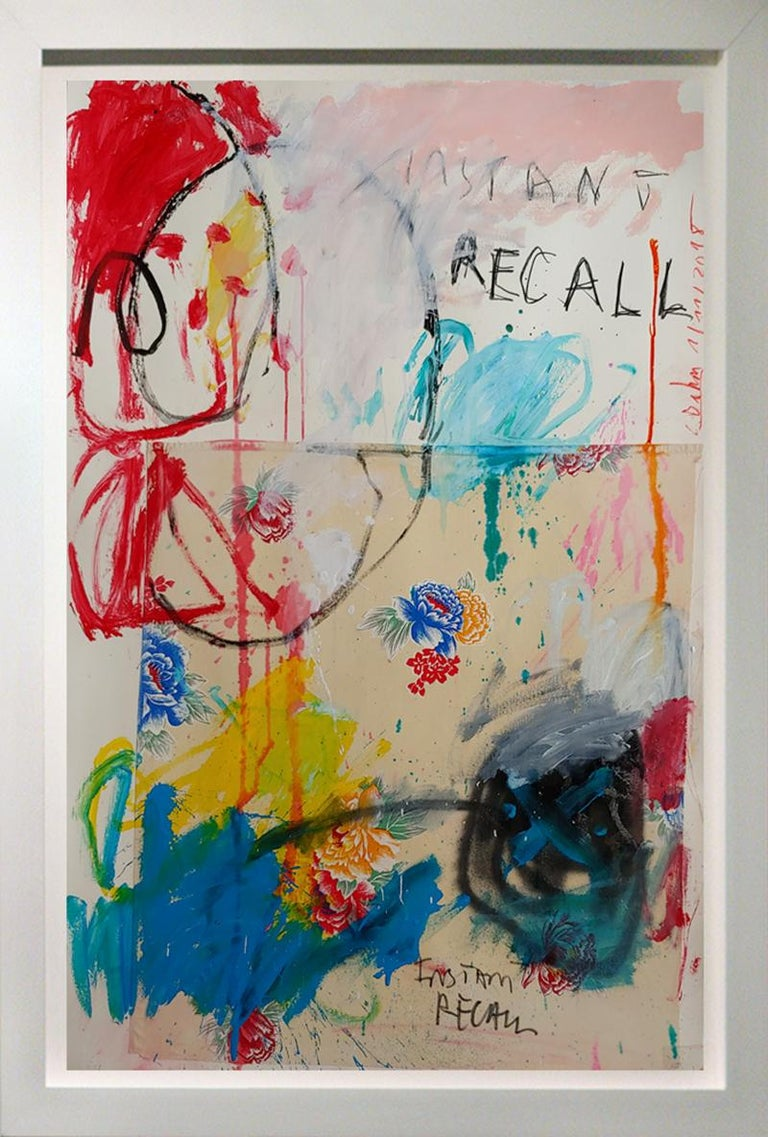 Christophe Abstract Painting - Instant Recall, acrylic, oil stick and fabric on board 52x36