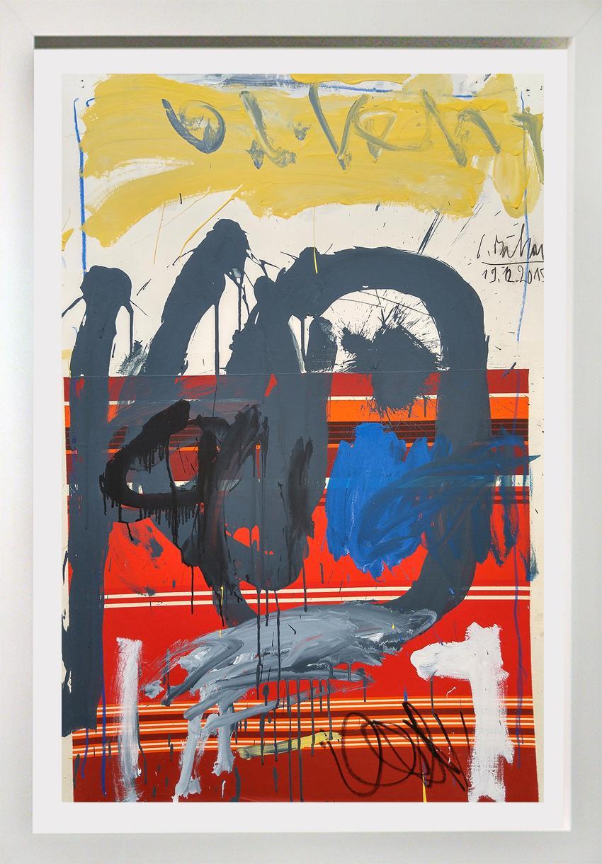 """Red Stripe Sunrise""  Acrylic,  54x38"