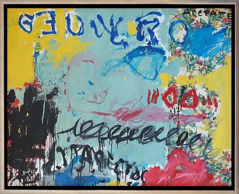 """Christophe Abstract Painting - """"Summer Holiday"""" acrylic on canvas with fabric 46x56"""""""