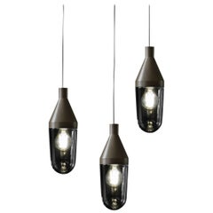 Christophe Pillet Set of Three Suspension Lamps 'Niwa' Beige Grey by Oluce