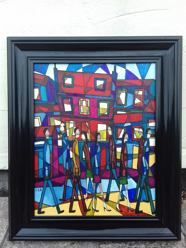 Around Town, Contemporary Abstract Figurative Painting For Sale 1