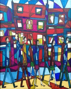 Around Town, Contemporary Abstract Figurative Painting
