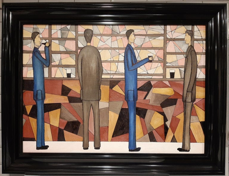 At The Bar, Contemporary Figurative Oil Painting - Brown Abstract Painting by Christopher Barrow