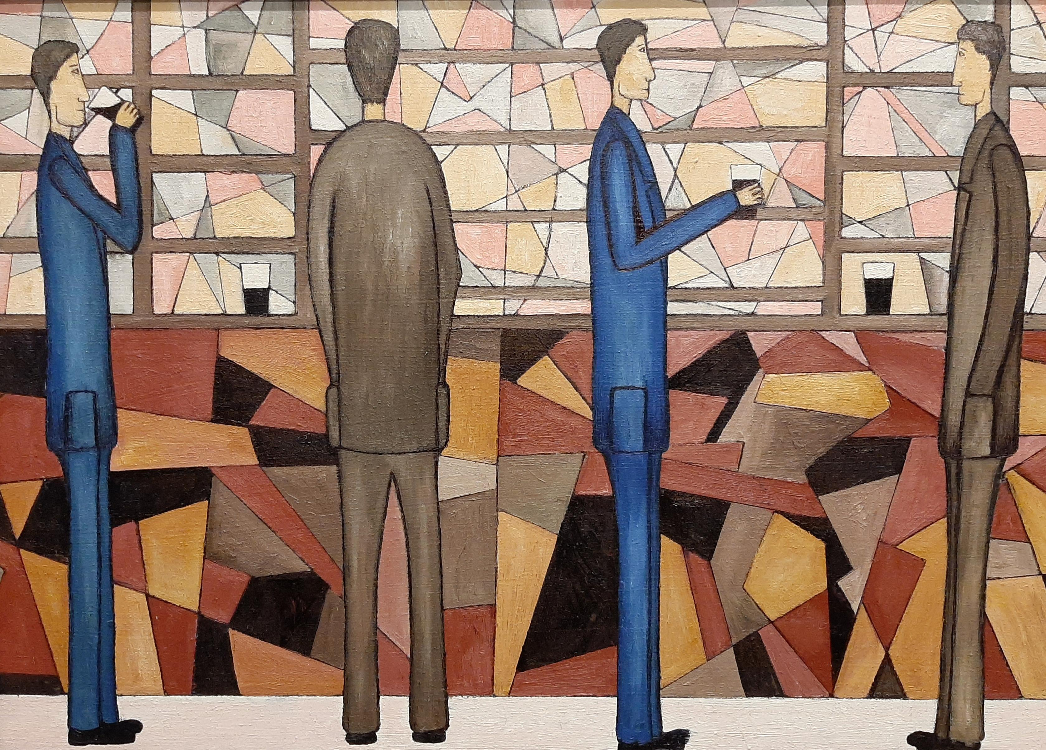 At The Bar, Contemporary Figurative Oil Painting