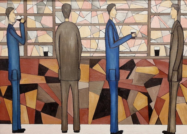 Christopher Barrow Abstract Painting - At The Bar, Contemporary Figurative Oil Painting