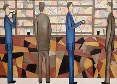 At The Bar, Figurative Oil Painting