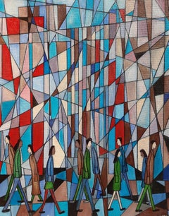 City Of Glass, Contemporary Abstract Oil Painting