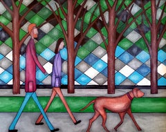 Dog Walkers, Contemporary Figurative Abstract Oil Painting