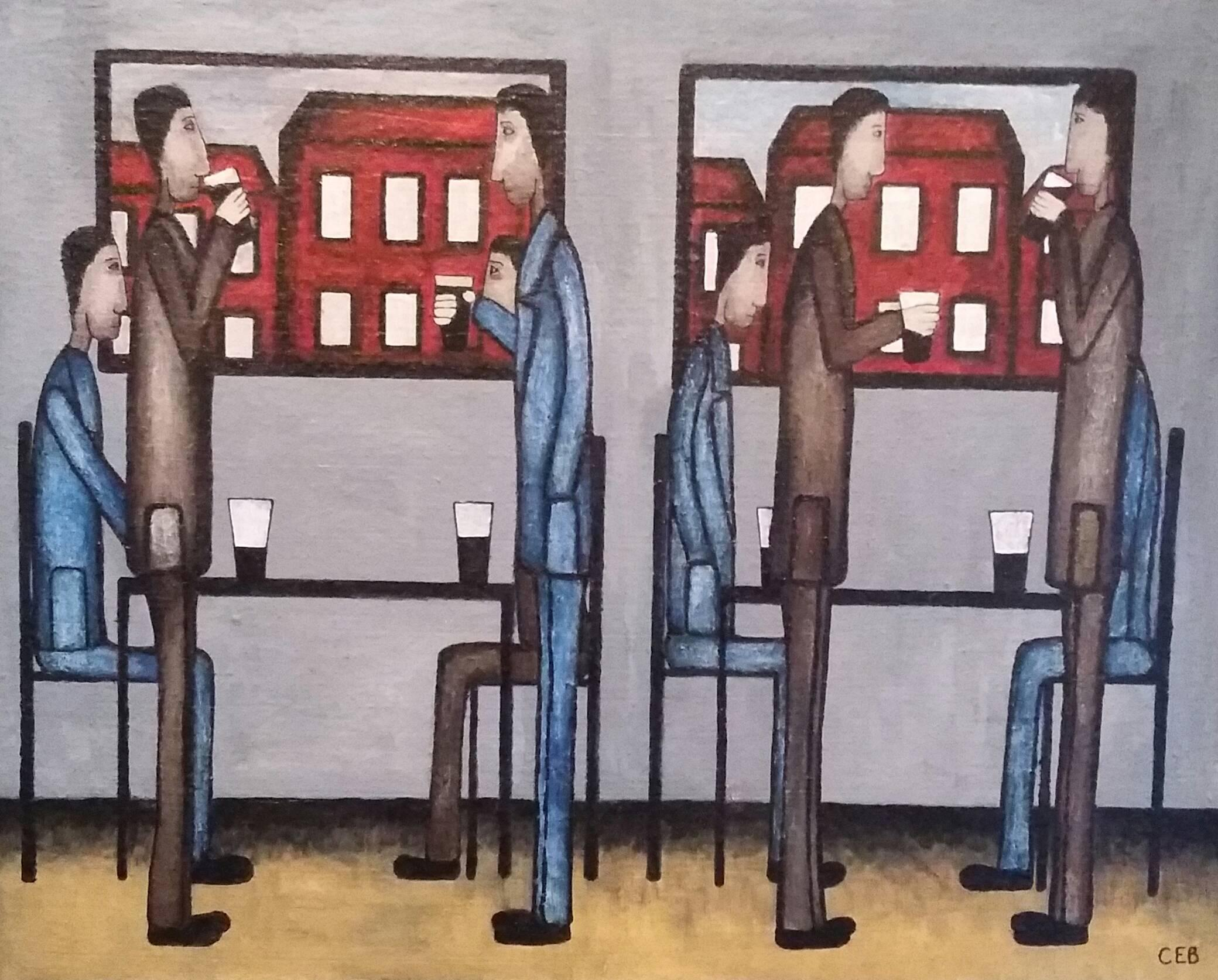 In The Pub.  Contemporary Figurative Oil Painting