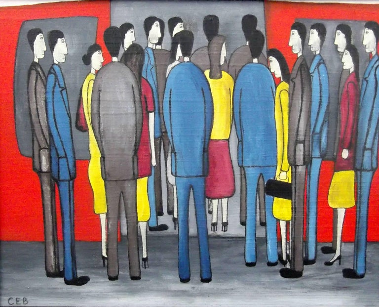 Christopher Barrow Figurative Painting - Morning Rush. Contemporary Figurative Oil Painting