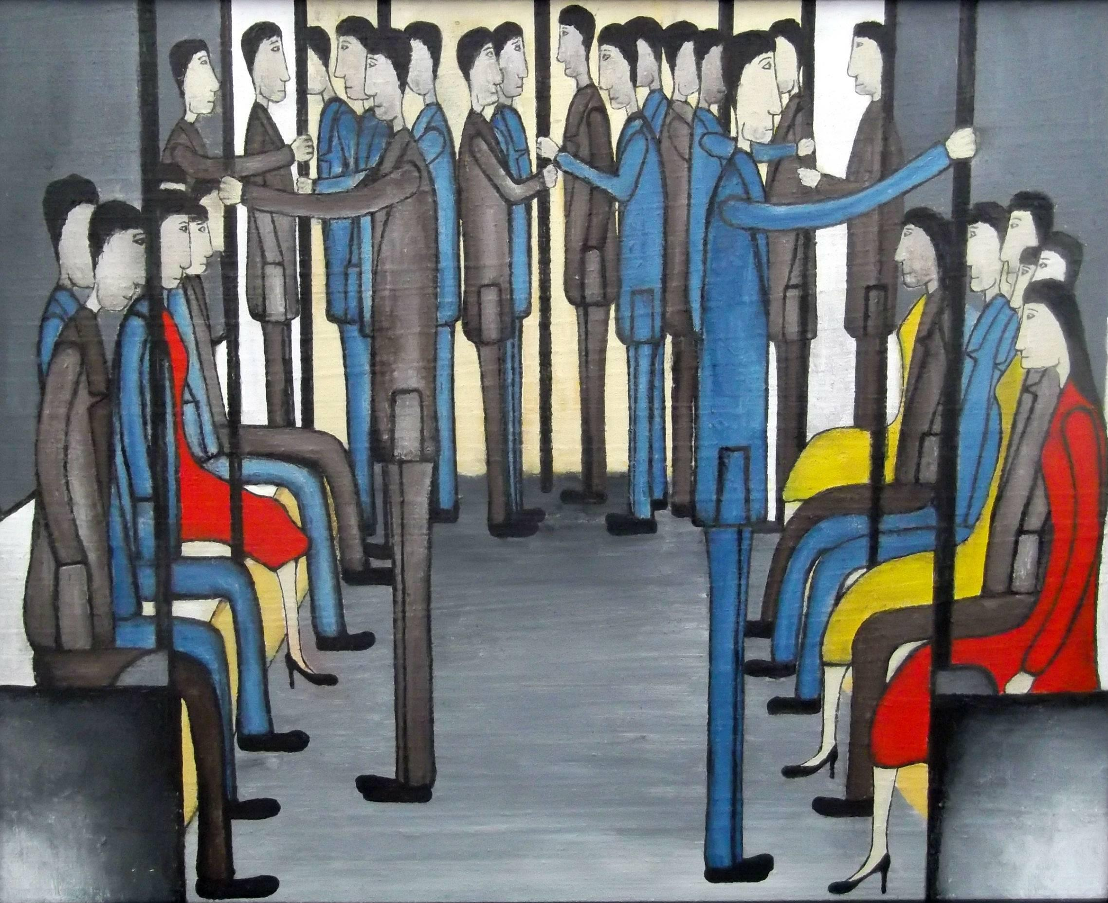 On the Train: Contemporary Figurative Oil Painting