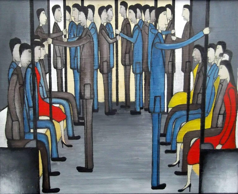 Christopher Barrow Figurative Painting - On the Train: Contemporary Figurative Oil Painting