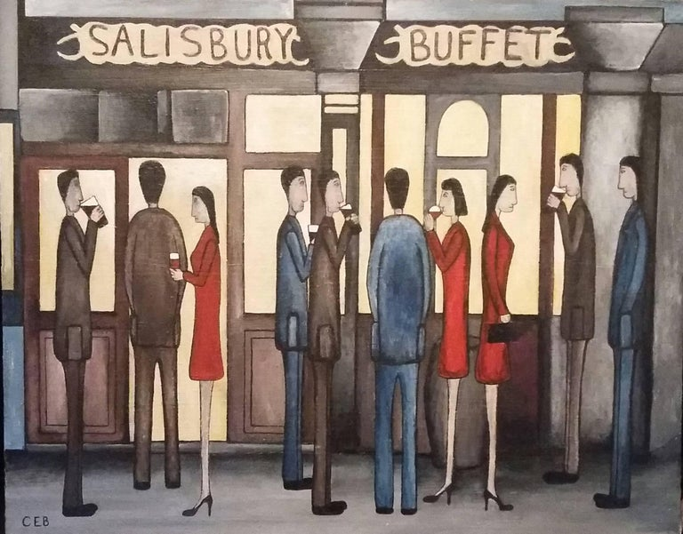 Christopher Barrow Figurative Painting - Salisbury Arms. Contemporary Figurative Oil Painting