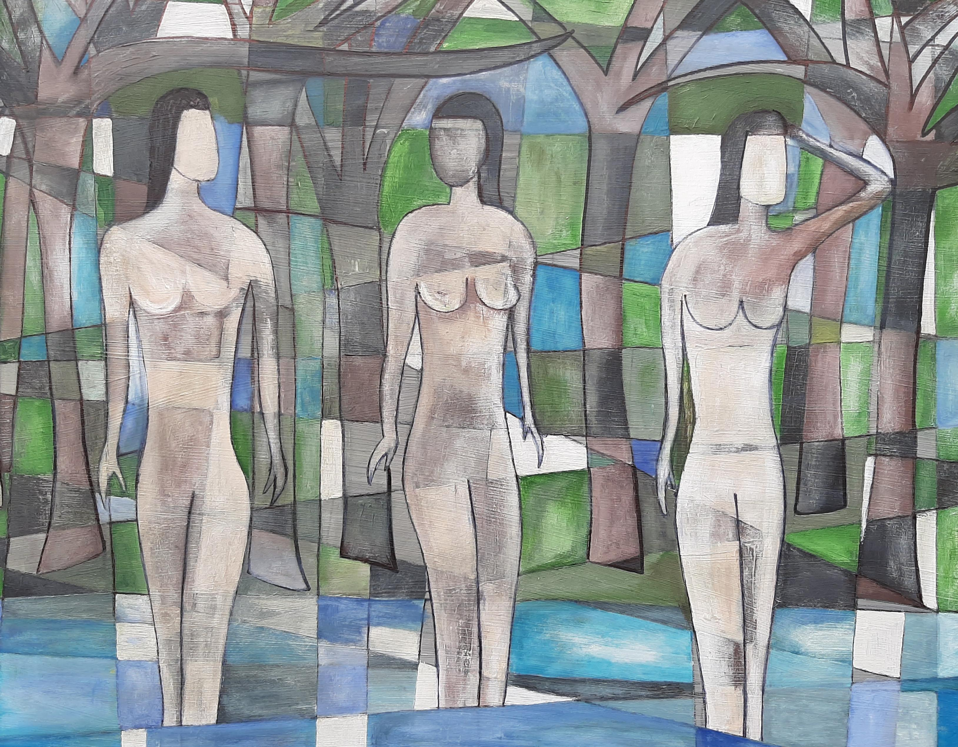 """""""The Bathers"""" Contemporary Oil On Board Painting"""