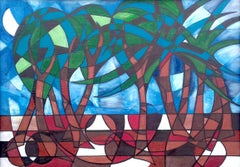 Tropical Trees. Contemporary Abstract Landscape