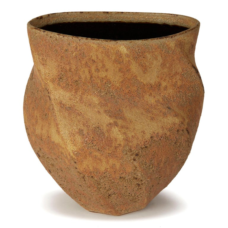 Hand-Crafted Christopher Carter Oxidised Textured Studio Pottery Vase For Sale
