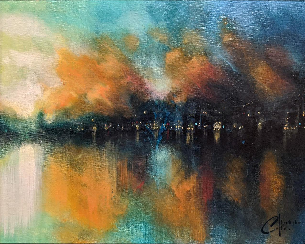 """Misty City"", Oil Painting"