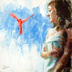 """Pink Bird Series - Blue"", Oil Painting"