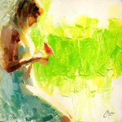 """Pink Bird Series - Green"", Oil Painting"