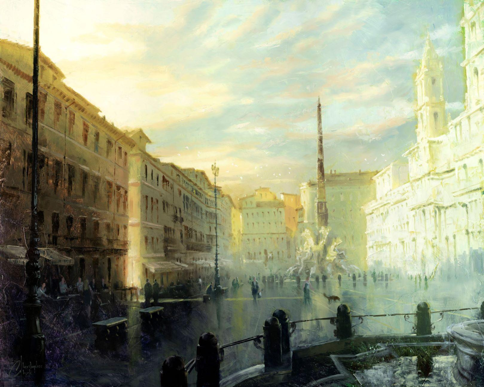 """""""Rome - Piazza Navona at Dawn"""", Oil Painting"""