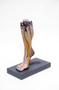 """Carbon Footprint"", Contemporary, Ceramic, Sculpture, Acrylic Paint, Wood Base"