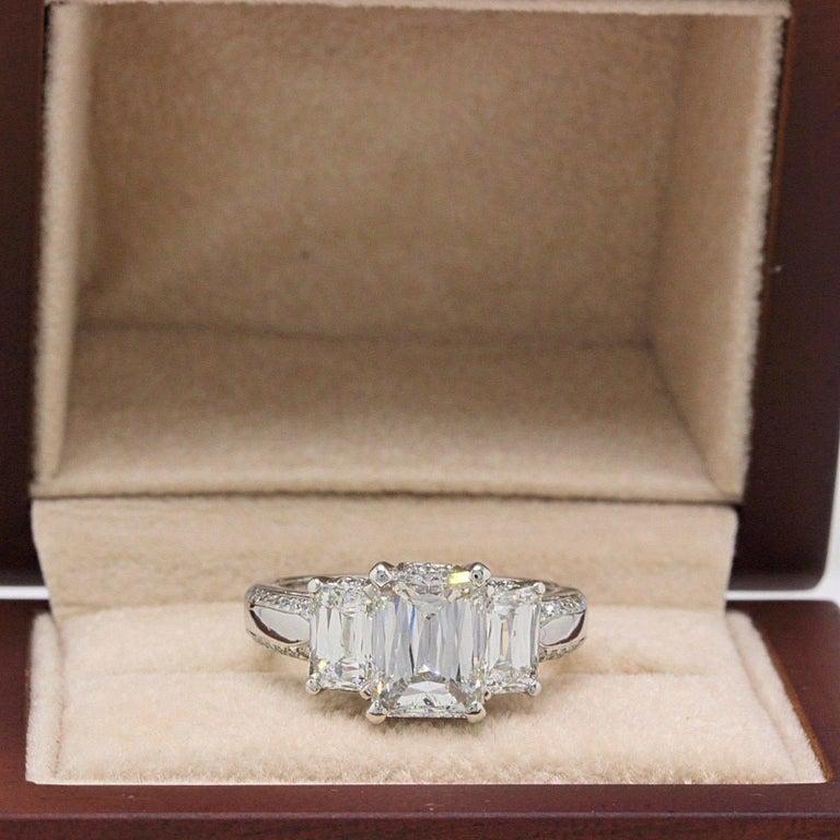 Christopher Designs Crisscut Emerald Diamonds Engagement Ring 4.01 TCW Platinum For Sale 5