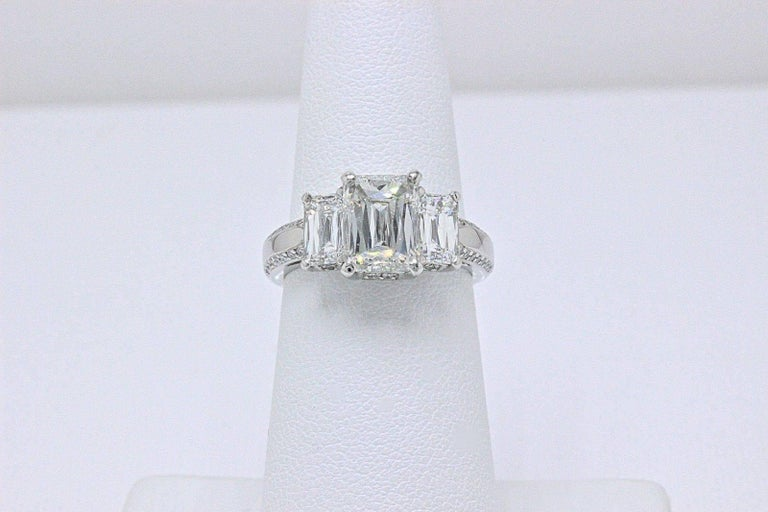 Christopher Designs Crisscut Emerald Diamonds Engagement Ring 4.01 TCW Platinum For Sale 6