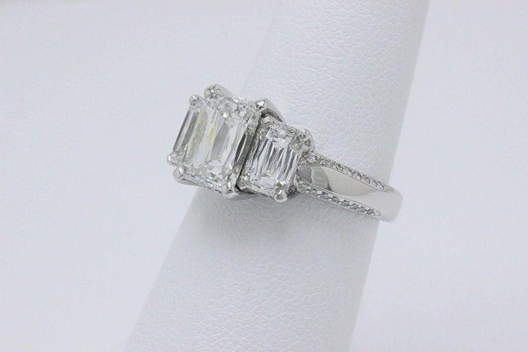 Emerald Cut Christopher Designs Crisscut Emerald Diamonds Engagement Ring 4.01 TCW Platinum For Sale