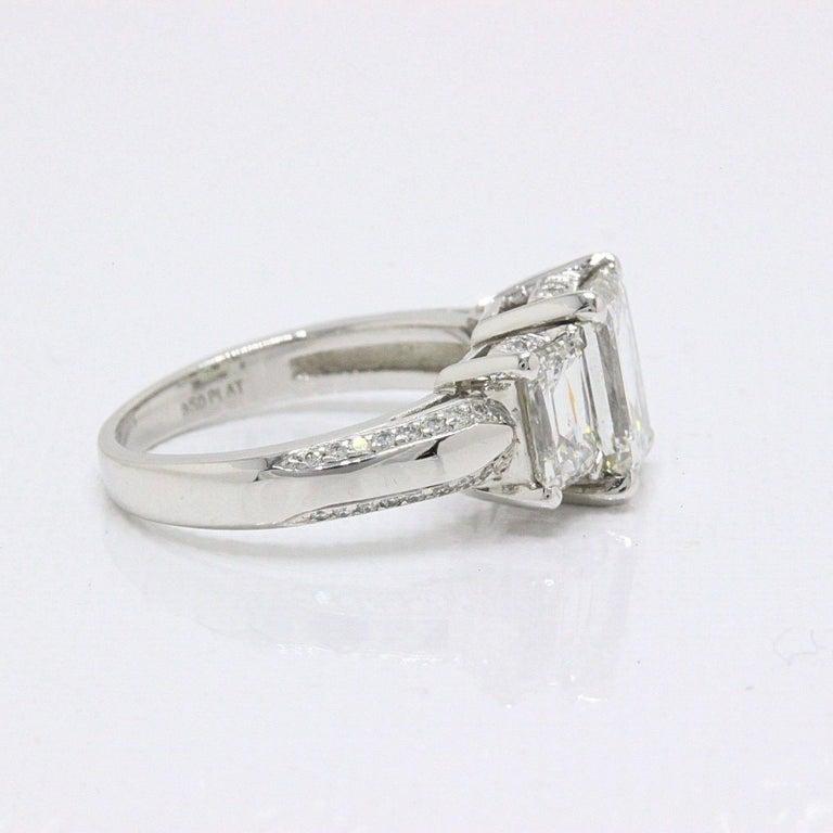 Christopher Designs Crisscut Emerald Diamonds Engagement Ring 4.01 TCW Platinum For Sale 1