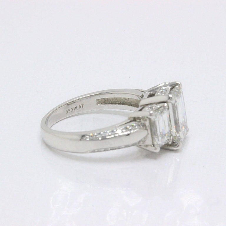 Christopher Designs Crisscut Emerald Diamonds Engagement Ring 4.01 TCW Platinum For Sale 2