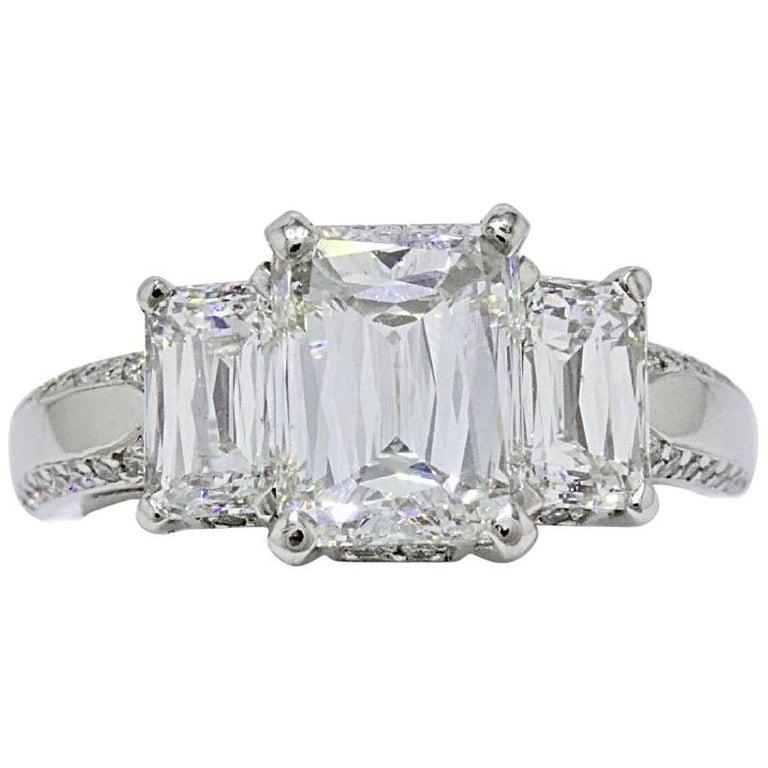 Christopher Designs Crisscut Emerald Diamonds Engagement Ring 4.01 TCW Platinum For Sale