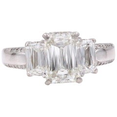 Christopher Designs Crisscut Three-Stone Diamond Engagement Ring 3.25 Carat