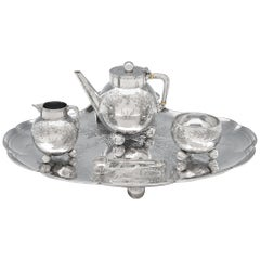 Christopher Dresser Design Antique Sterling Silver Tea Set on Tray by Elkington