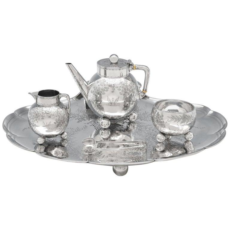 Christopher Dresser Design Antique Sterling Silver Tea Set on Tray by Elkington For Sale