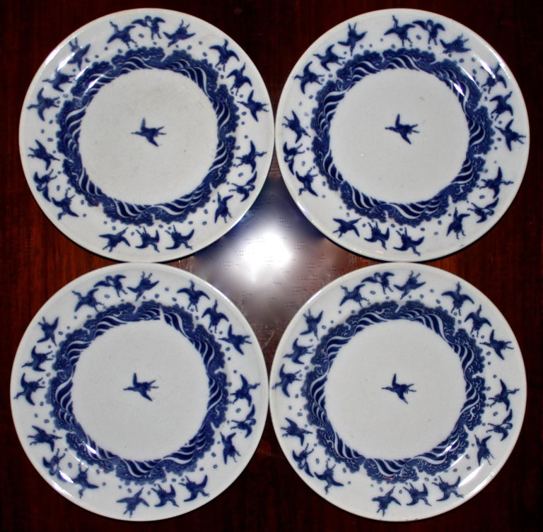 4 beautiful Minton's Aesthetic Movement plates with Japanese designs by Christopher Dresser.