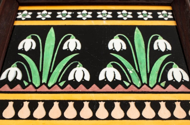 20th Century Christopher Dresser for Minton English Arts & Crafts Floral Pottery Tile For Sale