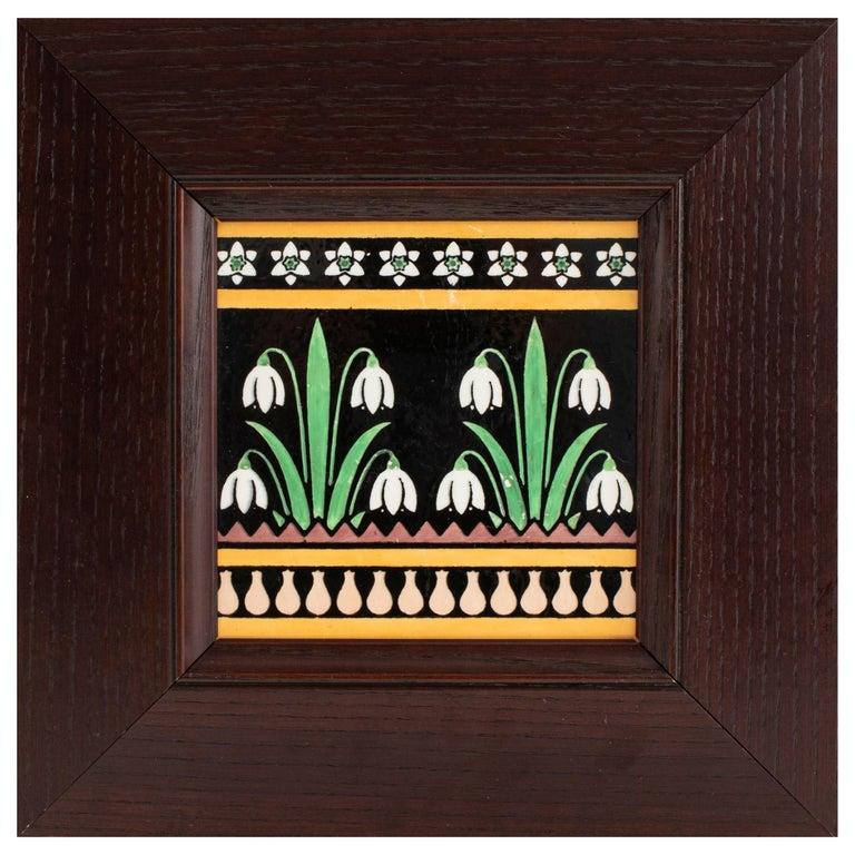 Christopher Dresser for Minton English Arts & Crafts Floral Pottery Tile For Sale