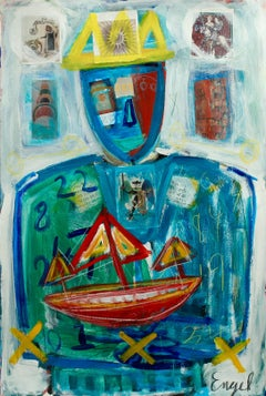 """CHRISTOPHER ENGEL, """"Talisman"""" contemporary colorful abstract figurative on paper"""