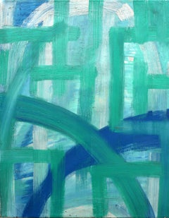 Harmonies in Blues & Greens (Bold Contemporary Abstract Expressionist Painting)