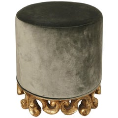 Christopher Guy Pouf Stool with Carved Giltwood Base