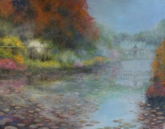 Monet on his Bridge, Painting, Oil on Canvas