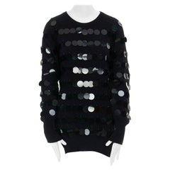 CHRISTOPHER KANE 100% cashmere black bead pailette side slit knit sweater top S