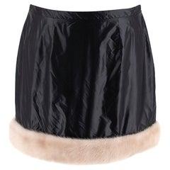 Christopher Kane Black Mink Fur-trim Mini Skirt - Us size 6