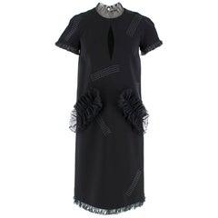 Christopher Kane Black Organza Frill High Neck Dress - Size US 2